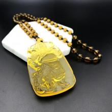 AK013-10 Амулет с чётками Бог войны Гуань Гун, стекло, цвет жёлтый