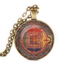 ALK031 Кулон с цепочкой Манджушри мандала, цвет бронз.