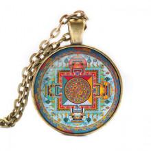 ALK034 Кулон с цепочкой Будда Медицины мандала, цвет бронз.