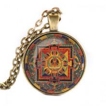 ALK041 Кулон с цепочкой Амитаюс мандала, цвет бронз.