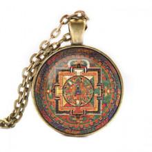 ALK042 Кулон с цепочкой Акшобхья мандала, цвет бронз.