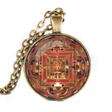 ALK047 Кулон с цепочкой Васундхара мандала, цвет бронз.