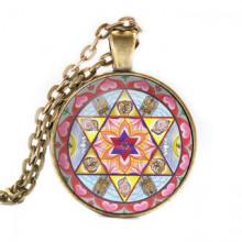 ALK050 Кулон с цепочкой Шива Шакти мандала, цвет бронз.