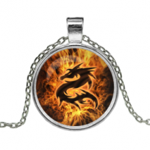 ALK105 Кулон с цепочкой Огненный дракон