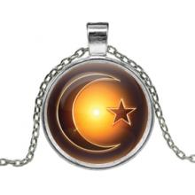 ALK224 Кулон с цепочкой Полумесяц и звезда