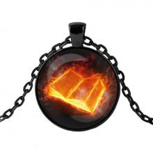 ALK410 Чёрный кулон с цепочкой Книга огненных страниц
