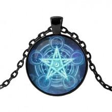 ALK411 Чёрный кулон с цепочкой Магический пентакль