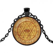 ALK431 Чёрный кулон с цепочкой Магическая гексаграмма