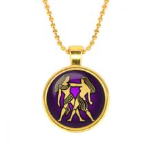ALK515 Кулон с цепочкой Знаки Зодиака - Близнецы, цвет золот.