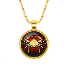 ALK516 Кулон с цепочкой Знаки Зодиака - Рак, цвет золот.
