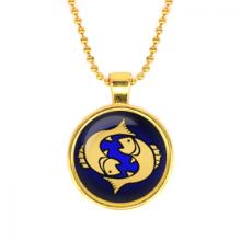 ALK524 Кулон с цепочкой Знаки Зодиака - Рыбы, цвет золот.