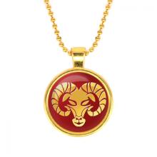 ALK525 Кулон с цепочкой Знаки Зодиака - Овен, цвет золот.