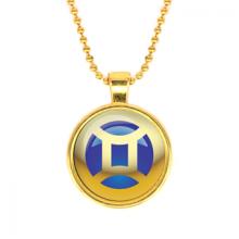 ALK551 Кулон с цепочкой Знаки Зодиака - Близнецы, цвет золот.
