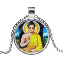 ALK606 Кулон с цепочкой Будда, цвет серебр.