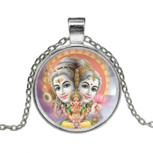 ALK617 Кулон с цепочкой Шива, Парвати, Ганеша, цвет серебр.