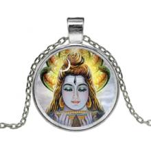 ALK624 Кулон с цепочкой Шива, цвет серебр.