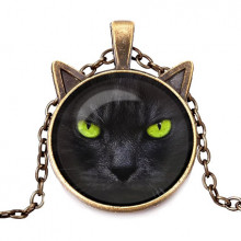 ALK711 Кулон с цепочкой Чёрный кот
