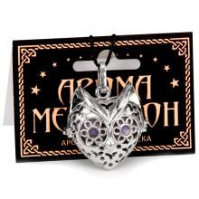 AM054-P Аромамедальон открывающийся Кошка 3,2см цвет серебряный