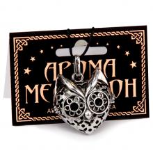 AM054-S Аромамедальон открывающийся Кошка 3,2см цвет серебр.