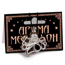 AM068 Аромамедальон открывающийся Осьминог 3,7см цвет серебр.
