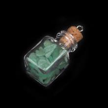 AMS005-GA Кулон - флакон 2,4см с натуральным камнем Зелёный авантюрин