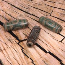 BDZ001-01R Тибетская бусина Дзи, натуральный агат, 1 шт, размер 29~30,5x9~12мм