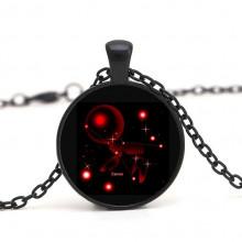 BJK035-07 Чёрный кулон с цепочкой Знаки Зодиака - Рак