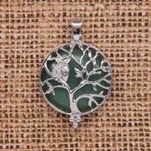 BJK083-06 Кулон Дерево d.2,7см с камнем Нефрит