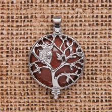 BJK083-09 Кулон Дерево d.2,7см с камнем Коричневый авантюрин