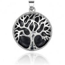 BJK083-12 Кулон Дерево d.2,7см с камнем Чёрный агат
