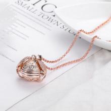 BJK108-RG Раскрывающийся кулон - фотоальбом с цепочкой 28х24мм, цвет розовое золото