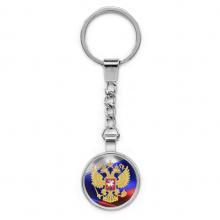 BKP003 Брелок Герб России, металл, цвет серебр.