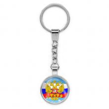 BKP038 Брелок Герб России, металл, цвет серебр.
