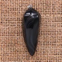 BLK022-03 Большой маятник ~5см из натурального камня Чёрный агат