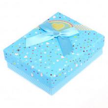 BOX003-4 Коробка для бижутерии с бантом 90х70х30мм, цвет голубой