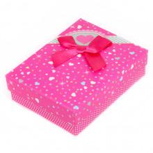 BOX003-6 Коробка для бижутерии с бантом 90х70х30мм, цвет малиновый