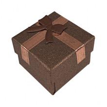 BOX018-06 Коробка для колец, 2,5х4х4см, цвет коричневый