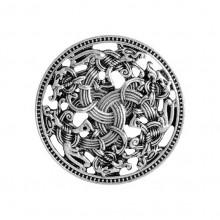 BR048-S Брошь Щит викингов 3см, цвет серебряный