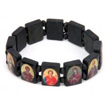 """BS011 Христианский браслет """"Лики Святых"""", чёрное дерево"""