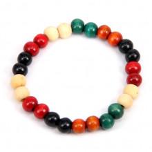 BS041-3 Деревянный стрейч - браслет 8мм, разноцветный