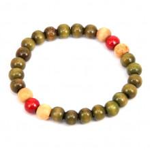 BS041-4 Деревянный стрейч - браслет 8мм, зелёный