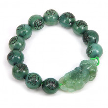 BS043-01 Браслет Пи Яо, Будда, пластик 10мм, зелёный