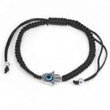 BS063-3 Плетёный браслет Хамса, цвет чёрный