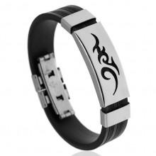 BS123-1 Силиконовый браслет с пряжкой, цвет чёрный
