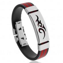 BS123-7 Силиконовый браслет с пряжкой, цвет чёрно-красный