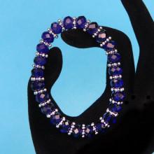BS152-3 Браслет из стеклянных бусин с разделителями, огранка 8мм, цвет синий
