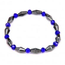 BS213 Магнитный браслет 6мм с синими бусинами