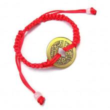 BS255 Плетёный браслет с большой монетой 23мм