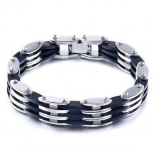 BS257 Мужской браслет Цепь, цвет сереб.с чёрным, ширина 10мм