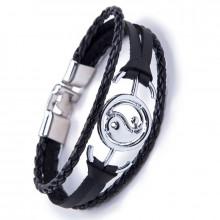 BS373 Кожаный браслет Инь-Ян, 200х25мм